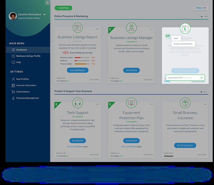 Marketing engine dashboard with CUI